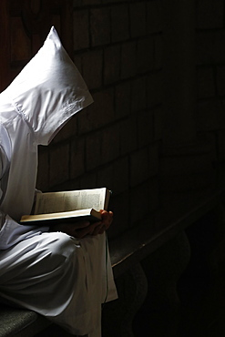 Monk reading the Bible, Cistercian Abbey, Our Lady of My Ca, Vietnam, Indochina, Southeast Asia, Asia