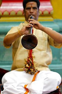 Musician playing a Nadaswaram, a traditional Indian wind instrument, Sri Mahamariamman Hindu Temple, Kuala Lumpur. Malaysia, Southeast Asia, Asia