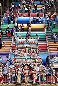 Entrance through the colorful staircase of the Hindu Temple and Shrine of Batu Caves, Kuala Lumpur, Malaysia, Southeast Asia, Asia