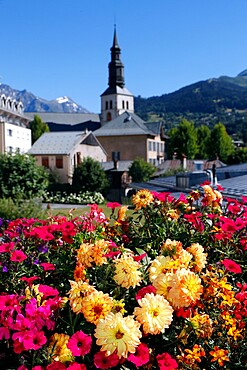 Colourful flowers in the village of Saint Gervais les Bains in the French Alps, Haute-Savoie,  France, Europe