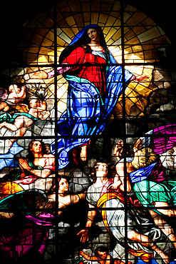 Assumption of Virgin Mary, stained glass window, Milan Cathedral, Milan, Lombardy, Italy, Europe