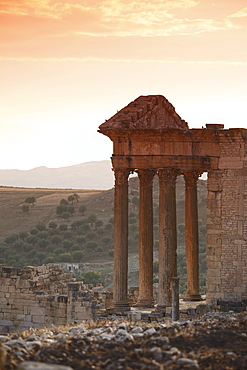 The Capitol at sunset in the Roman ruins, Dougga Archaeological Site, UNESCO World Heritage Site, Tunisia, North Africa, Africa
