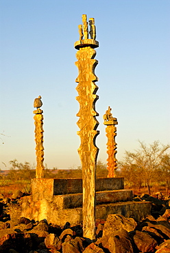 Traditional cemetery, near Toliara, Madagascar, Africa