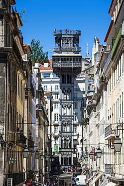 The old Elevador de Santa Justa in Lisbon, Portugal, Europe