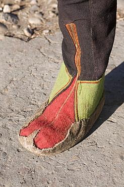 Detail of traditional boots, Paro Tsechu, Bhutan, Asia