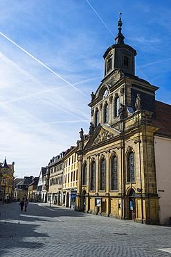 Spital church in the pedestrian zone, Bayreuth, Upper Franconia, Bavaria, Germany, Europe