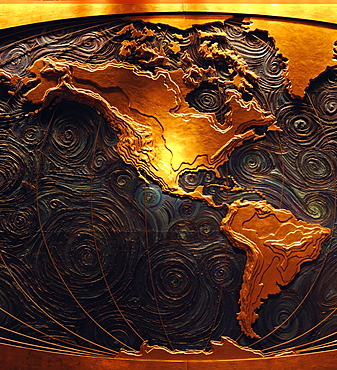 Map mural of the continents of Norh America and South America, Houston, Texas, United States of America, North America