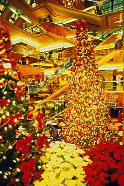 Interior of Trump Tower decorated for Christmas, New York City, New York, United States of America, North America