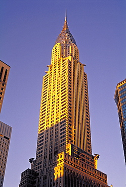 Close up of the Chrysler Building illuminated at sunset, New York City, United States of America, North America