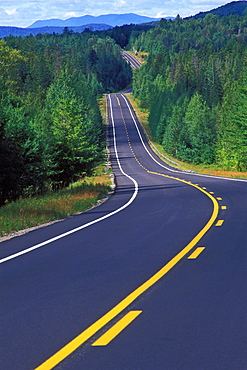Highway meandering through forest, Adirondack State Park, New York State, United States of America, North America