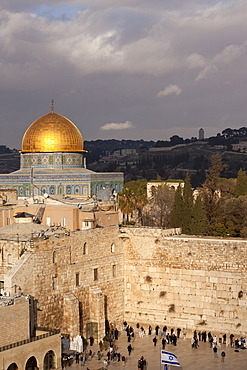 Dome of the Rock and the Wailing Wall, Jerusalem, Israel, Middle East