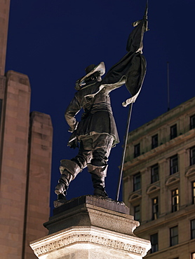Statue of Paul de Chomedey de Maisonneuve, founder of Montreal in 1642, Place d'Armes, Montreal, Quebec, Canada, North America