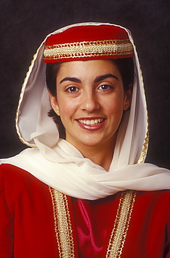 Portrait of teenager dressed in traditional special occasion dress of Armenian heritage, Armenia, Central Asia, Asia