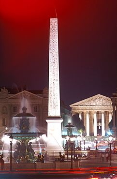 Obelisk and Place de la Concorde illuminated at night, Paris, France, Europe
