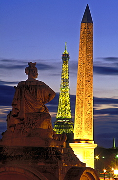Egyptian Obelisk and Statue of Strasbourg, Place de la Concorde, and Eiffel Tower in the background, Paris, France, Europe