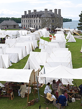 Tent encampment in reenactment of French Indian War of 1759, Old Fort Niagara dating from 1679, Youngstown, New York State, United States of America, North America