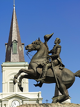 Equestrian statue of Andrew Jackson, Jackson Square, French Quarter, New Orleans, Louisiana, United States of America, North America