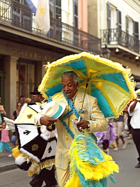 French Quarter second line parade led by the Grand Marshall, French Quarter, New Orleans, Louisiana, United States of America, North America