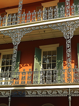 French Quarter building with wrought iron balconies, New Orleans, Louisiana, United States of America, North America
