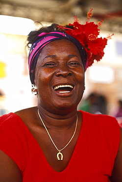Woman fruit vendor at local out door market, Charlotte Amalie, U.S. Virgin Islands, West Indies, Caribbean, Central America