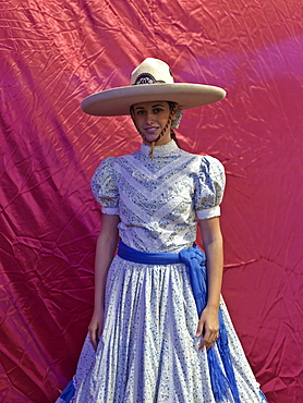 Portrait of Mexican charras (cowgirl), Guadalajara, Jalisco, Mexico, North America