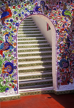 Colorful doorway with steps leading upward, Acapulco, Mexico, North America
