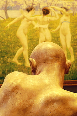 Vew of the back of a sculpture's head and a painting of three girls dancing, the three graces, Ca'Pesaro Gallery of Modern Art, Venice, Veneto, Italy, Europe