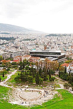 Cityscape including the Theatre of Dionysus and Acropolis Museum, Athens, Greece, Europe