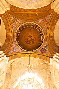 Christ Pantocrator mosaic in the cupola of the Church of the Holy Sepulchre in Jerusalem, Israel, Middle East