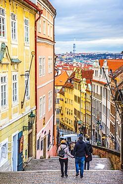 Zamecke Schody, Castle Stairs, Mala Strana, UNESCO World Heritage Site, Prague, Czech Republic, Europe