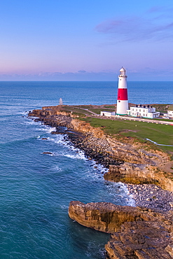 View by drone of Portland Bill Lighthouse, Portland Bill, Isle of Portland, UNESCO World Heritage Site, Dorset, England, United Kingdom, Europe