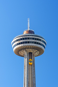 Yellow Bug elevators (lifts). Skylon Tower, Niagara Falls, Ontario, Canada, North America