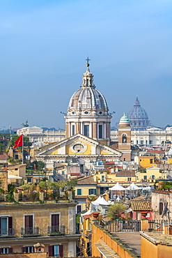 Basilica of SS. Ambrose and Charles on the Corso and St. Peter's Basilica and Vatican beyond, Rome, Lazio, Italy, Europe