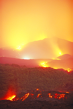Lava flow from the Monti Calcarazzi fissure that threatened Nicolosi on the south flank of Mt. Etna, Sicily, Italy, EuropeThe Piano del Lago cone (above) destroyed the Sapienza cable car.