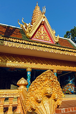Guardian Naga snake and sleeping Buddha pavilion at the Wat Traeuy Kaoh temple on Fish Island across the river, Kampot, Cambodia, Indochina, Southeast Asia, Asia