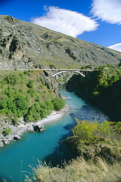 The Kawarau River, a popular site for jet-boating and rafting, near Queenstown, western Otago, South Island, New Zealand, Pacific
