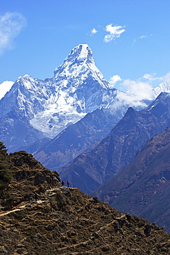 Ama Dablam from trail between Namche Bazaar and Everest View Hotel, Nepal, Himalayas, Asia