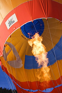Hot air balloon taking off, Filzmoos, Salzburg, Austria, Europe