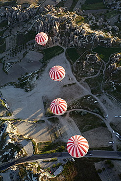 Hot air balloons, balloon ride, Goreme, UNESCO World Heritage Site, Cappadocia, Turkey
