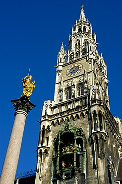 Column of Maria with the tower of cityhall Marienplatz Munich Bavaria Germany