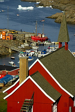 Red church at the harbour Ammassalik Eastgreenland