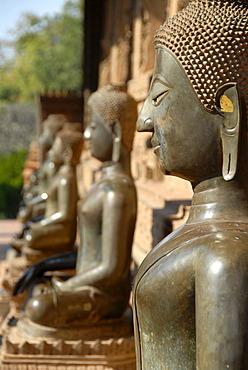 Bronze buddha statues Temple museum of Art and Antiquities Haw Pha Kaew Museum Vientiane Laos