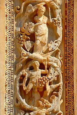 Fine carved relief at column Severan basilica Leptis Magna Libya