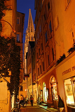 Regensburg Upper Palatinate Bavaria Germany cathedral from the Kramgasse