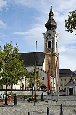 Altenmarkt in the Pongau Salzburger country Austria church with village square