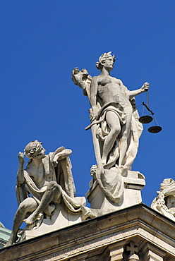 Lady Justice, Innocence on the palace of justice, Munich, Bavaria, Germany