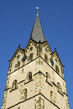 Church tower of the cathedrale in the old part of Herford, North Rhine-Westphalia, Germany
