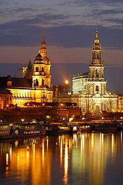 River Elbe town Hofkirche Bruehlsche Terrasse historical buildings at twilight Dresden Saxony Germany