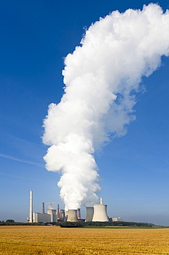 Kraftwerk Neurath power plant with a huge cloud of steam, Grevenbroich, North Rhine-Westphalia, Germany, Europe
