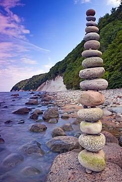 Stack of stones in Jasmund National Park, Ruegen island, Mecklenburg-Western Pomerania, Germany, Europe